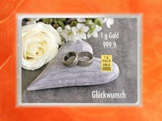 1 Gramm Gold Geschenkbarren Flipmotiv: Hochzeit Ringe Herz