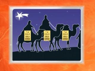 3 Gramm Gold Geschenkbarren Flipmotiv: Weihnachten Heilige 3 Könige