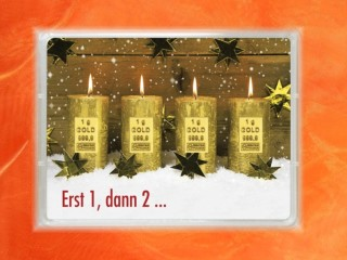 4 Gramm Gold Geschenkbarren Flipmotiv: Weihnachten Adventskerzen