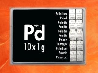 10 Gramm Palladium Geschenkbarren Pd international