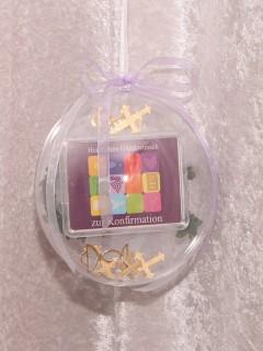 1 Gramm Goldbarren Konfirmation in dekorierter Geschenkkugel