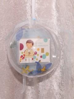 1 Gramm Goldbarren Kommunion Junge in dekorierter Geschenkkugel