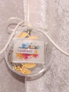1 Gramm Goldbarren Flipmotiv Konfirmation Kreuze in dekorierter Geschenkkugel