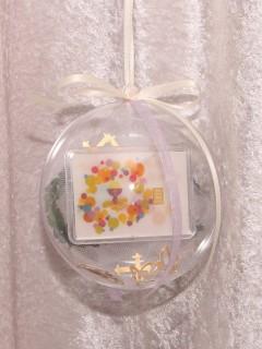 1 Gramm Goldbarren Flipmotiv Konfirmation Kelch in dekorierter Geschenkkugel