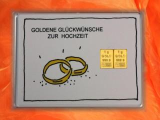 2 g gold gift bar motif: Hochzeit Ringe