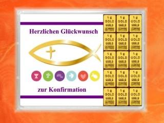 15 g gold gift bar motif: Konfirmation fish