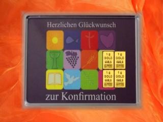 4 g gold gift bar motif: Konfirmation