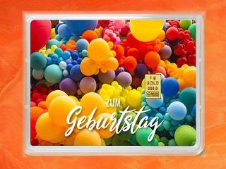 1 g gold gift bar flip motif: Happy Birthday balloons
