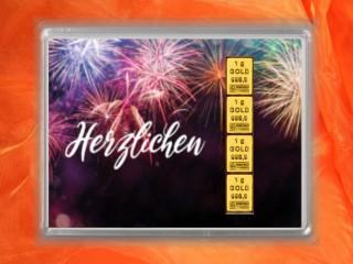 4 g gold gift bar flipmotif: Herzlichen Glückwunsch