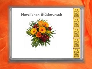 5 g gold gift bar Herzlichen Glückwunsch bunch of flowers