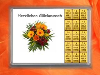 15 g gold gift bar Herzlichen Glückwunsch bunch of flowers