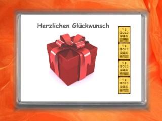 4 g gold gift bar Herzlichen Glückwunsch gift
