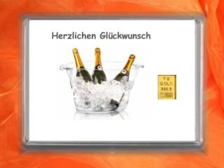 1 g gold gift bar Herzlichen Glückwunsch champagne
