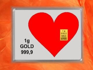 1 g gold gift bar motif: heart
