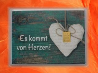 1 Gramm Gold Geschenkbarren Motiv: Kommt von Herzen