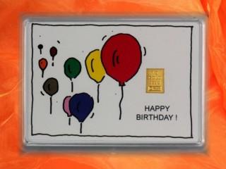 1 Gramm Gold Geschenkbarren Motiv: Happy birthday Luftballons