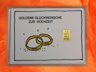 1 g gold gift bar motif: Hochzeit Ringe