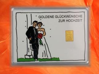 1 g gold gift bar motif: Hochzeit Brautpaar
