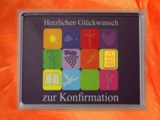 1 g gold gift bar motif: Konfirmation