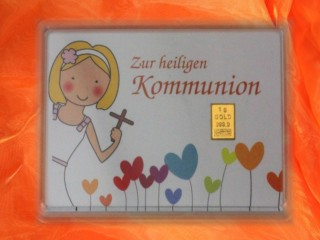 1 g gold gift bar motif: Kommunion Mädchen