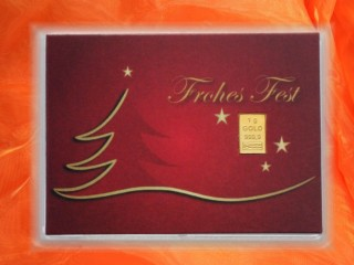 1 g gold gift bar motif: Weihnachten Frohes Fest