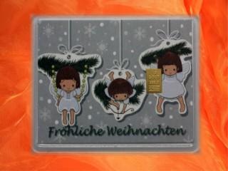1 g gold gift bar motif: Fröhliche Weihnachten Engel