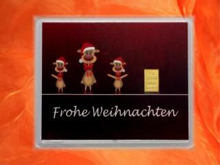 1 g gold gift bar motif: Frohe Weinachten Rentiere