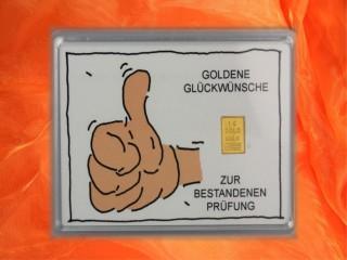 1 g gold gift bar motif: Bestandene Prüfung