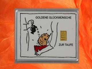 1 g gold gift bar motif: Zur Taufe