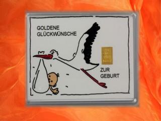 1 g gold gift bar motif: Zur Geburt