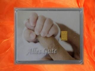 1 g gold gift bar motif: Birth baby fingers