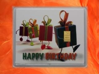 1 Gramm Gold Geschenkbarren Geburtstag Motiv: Happy birthday Geschenke