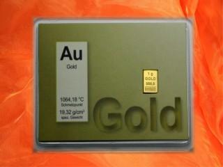 1 Gramm Gold Geschenkbarren Motiv: Au-Gold