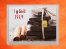 1 Gramm Gold Geschenkbarren Flipmotiv: Gold statt Schokolade