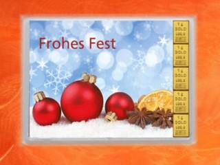 5 Gramm Gold Geschenkbarren Flipmotiv: Frohes Fest