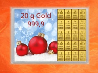 20 Gramm Gold Geschenkbarren Flipmotiv: Frohes Fest