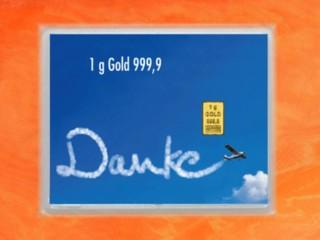 1 g gold gift bar flip motif: Thank you Aircraft