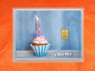 1 g gold gift bar flip motif: Happy Birthday Cupcake