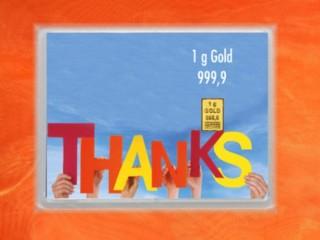 1 Gramm Gold Geschenkbarren Flipmotiv: Danke Thanks