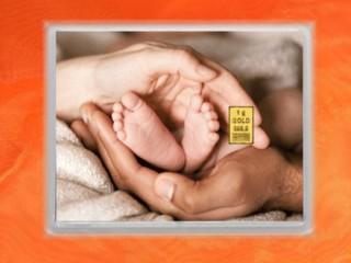 1 g gold gift bar flip motif: childbirth Zur Geburt