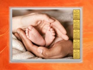 5 Gramm Gold Geschenkbarren Flipmotiv: Zur Geburt