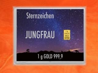 1 g gold gift bar flip motif: Zodiac sign Virgo
