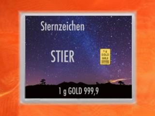 1 g gold gift bar flip motif: Zodiac sign Taurus