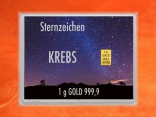 1 Gramm Gold Geschenkbarren Flipmotiv: Sternzeichen Krebs