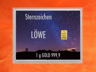 1 g gold gift bar flip motif: Zodiac sign Leo