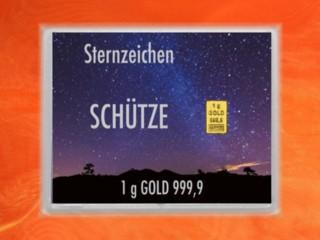1 Gramm Gold Geschenkbarren Flipmotiv: Sternzeichen Schütze