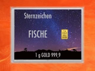 1 g gold gift bar flip motif: Zodiac sign Pisces