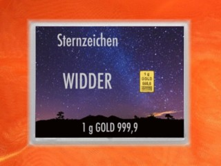1 Gramm Gold Geschenkbarren Flipmotiv: Sternzeichen Widder
