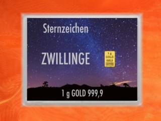 1 g gold gift bar flip motif: Zodiac sign Gemini