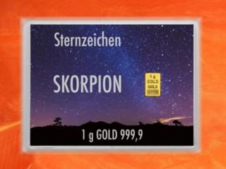 1 Gramm Gold Geschenkbarren Flipmotiv: Sternzeichen Skorpion